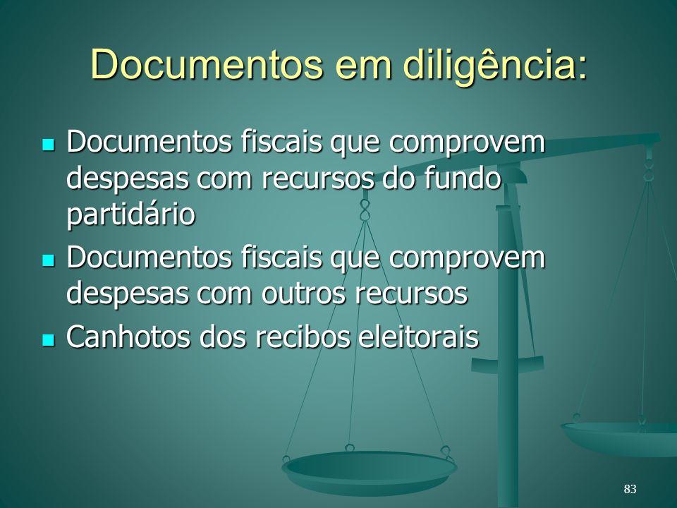 Documentos em diligência: