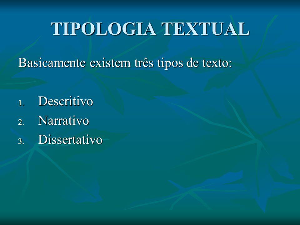 TIPOLOGIA TEXTUAL Basicamente existem três tipos de texto: Descritivo
