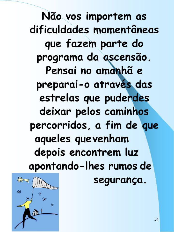 Não vos importem as dificuldades momentâneas que fazem parte do programa da ascensão.