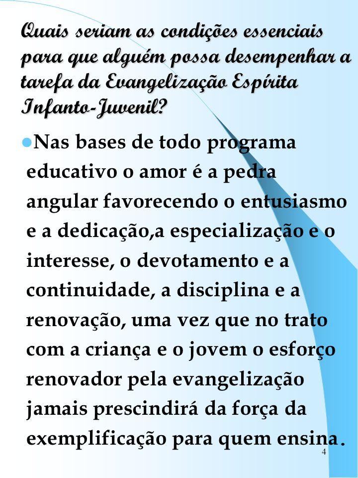 Quais seriam as condições essenciais para que alguém possa desempenhar a tarefa da Evangelização Espírita Infanto-Juvenil