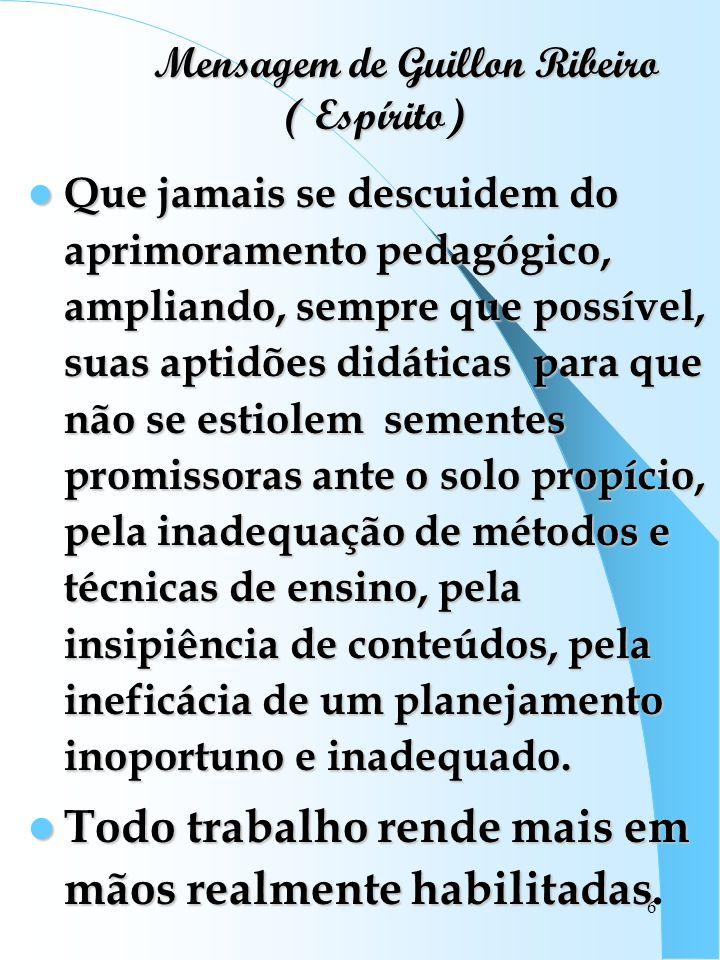 Mensagem de Guillon Ribeiro ( Espírito)