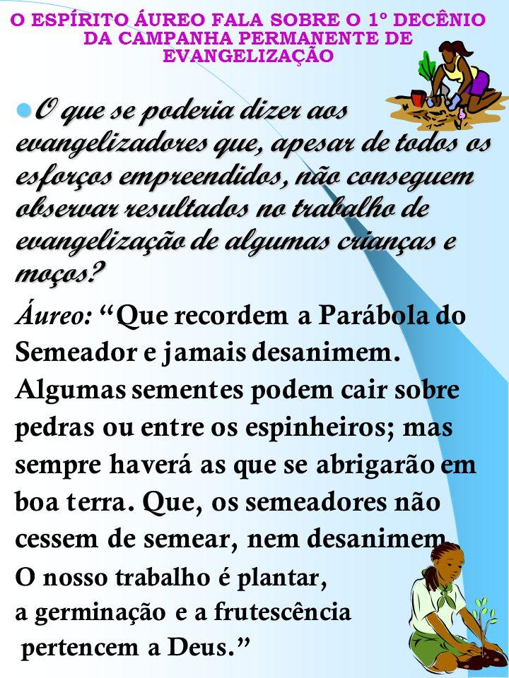 O ESPÍRITO ÁUREO FALA SOBRE O 1º DECÊNIO DA CAMPANHA PERMANENTE DE EVANGELIZAÇÃO
