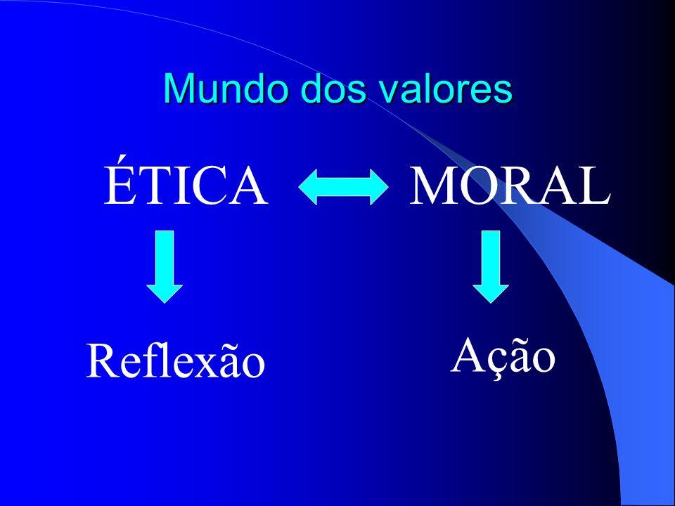 Mundo dos valores ÉTICA MORAL Ação Reflexão