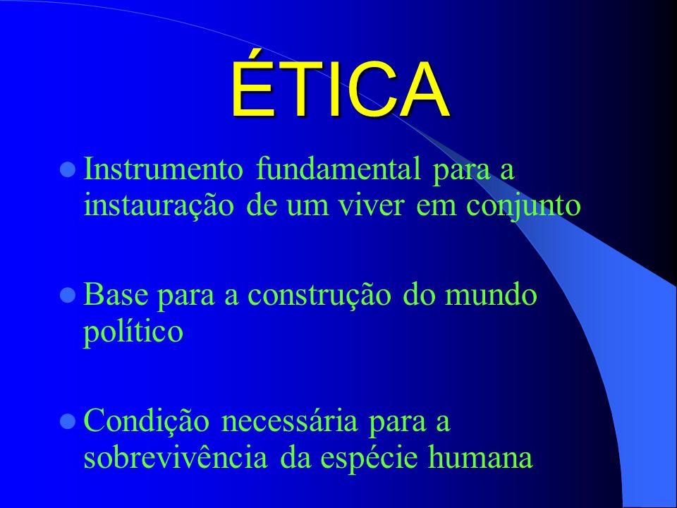 ÉTICA Instrumento fundamental para a instauração de um viver em conjunto. Base para a construção do mundo político.