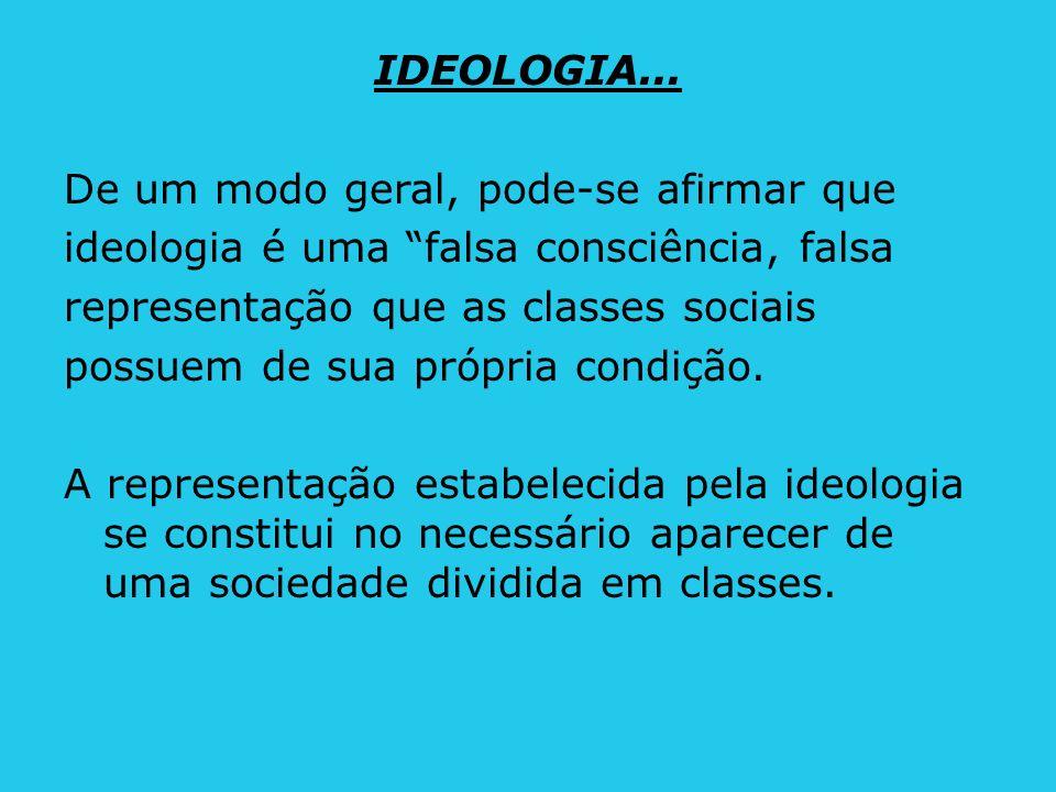 IDEOLOGIA... De um modo geral, pode-se afirmar que. ideologia é uma falsa consciência, falsa. representação que as classes sociais.