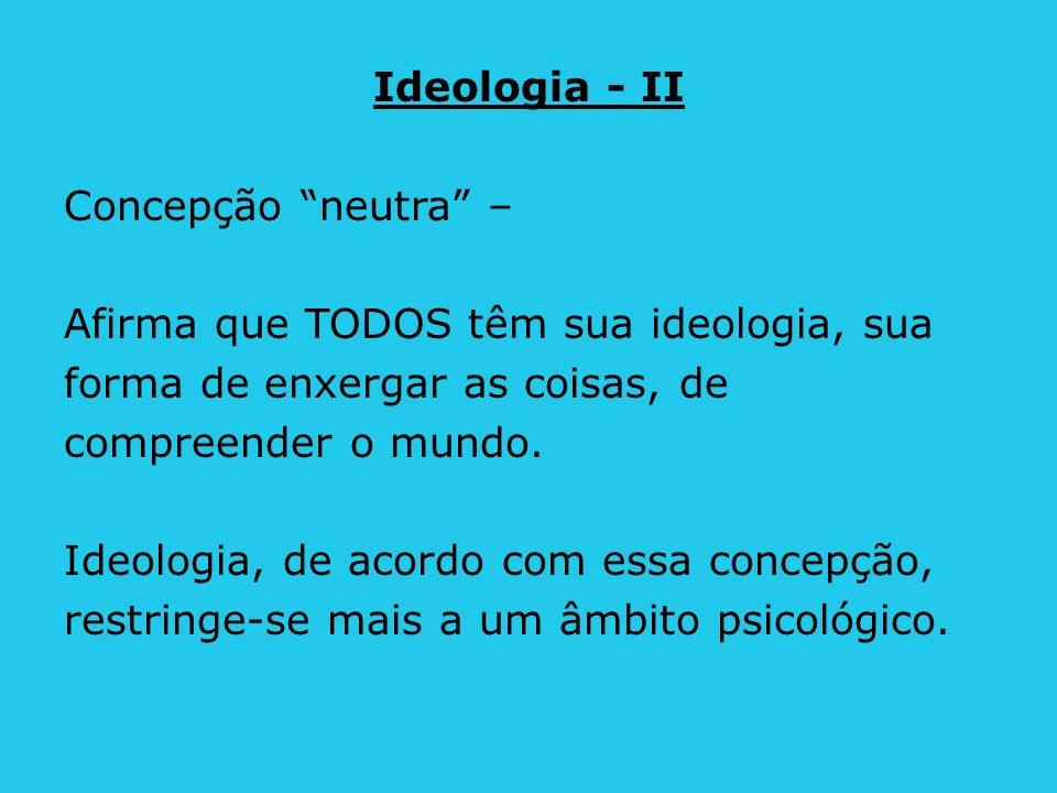 Ideologia - II Concepção neutra – Afirma que TODOS têm sua ideologia, sua. forma de enxergar as coisas, de.