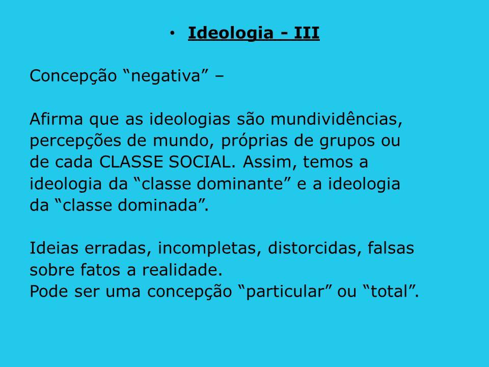 Ideologia - III Concepção negativa – Afirma que as ideologias são mundividências, percepções de mundo, próprias de grupos ou.
