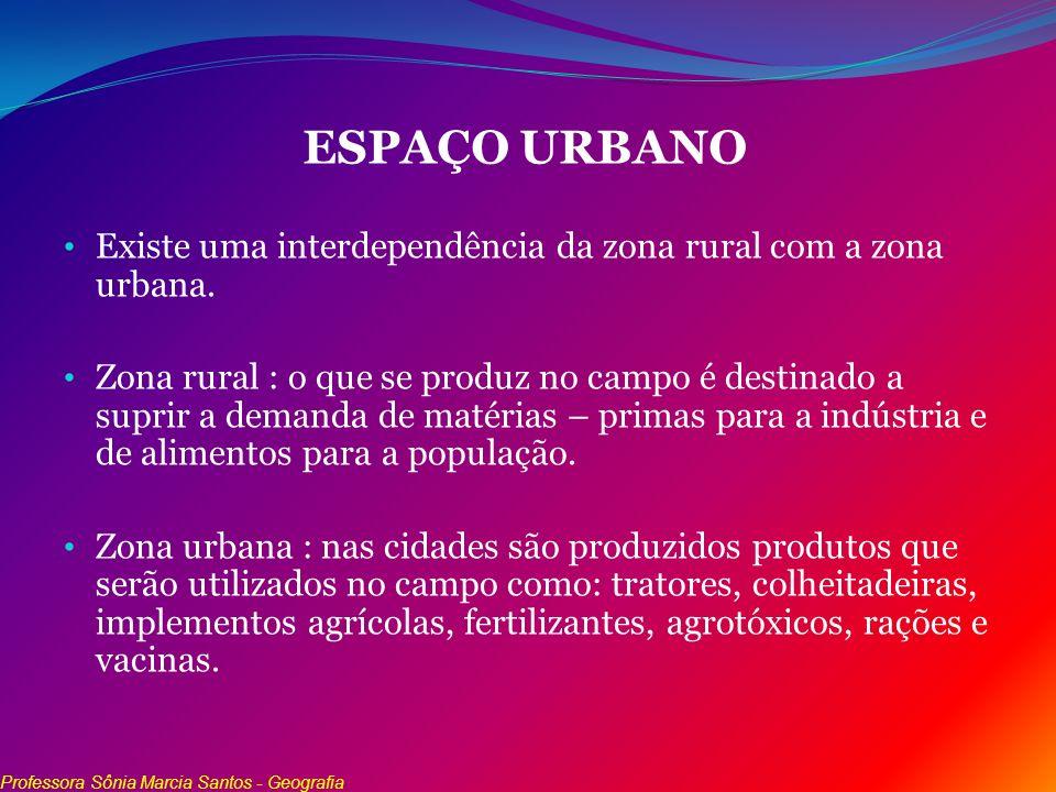 ESPAÇO URBANO Existe uma interdependência da zona rural com a zona urbana.