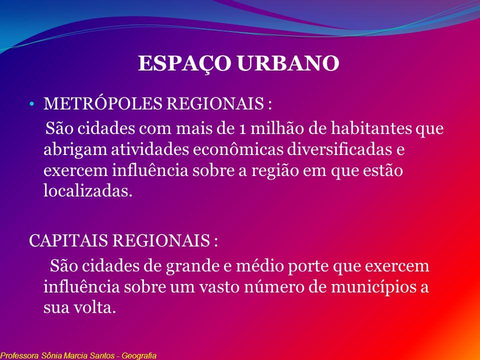 ESPAÇO URBANO METRÓPOLES REGIONAIS :
