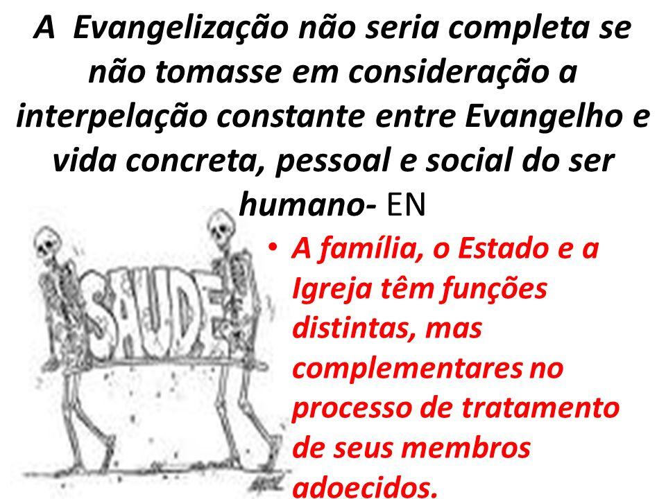 A Evangelização não seria completa se não tomasse em consideração a interpelação constante entre Evangelho e vida concreta, pessoal e social do ser humano- EN