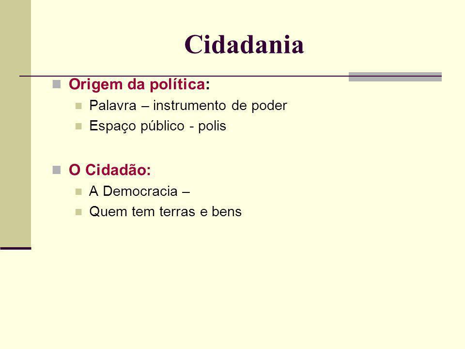 Cidadania Origem da política: O Cidadão:
