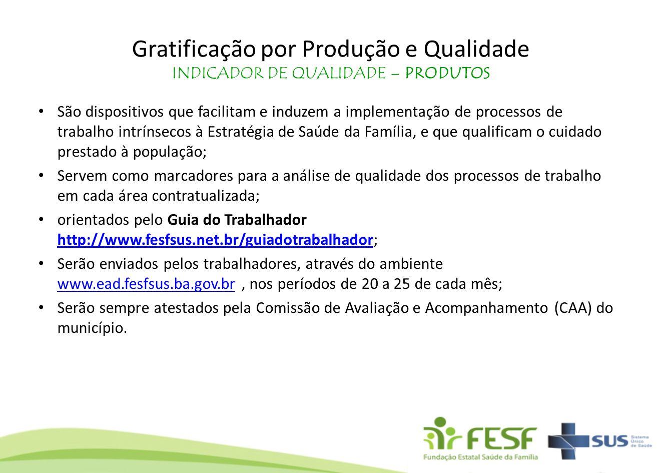 Gratificação por Produção e Qualidade INDICADOR DE QUALIDADE – PRODUTOS