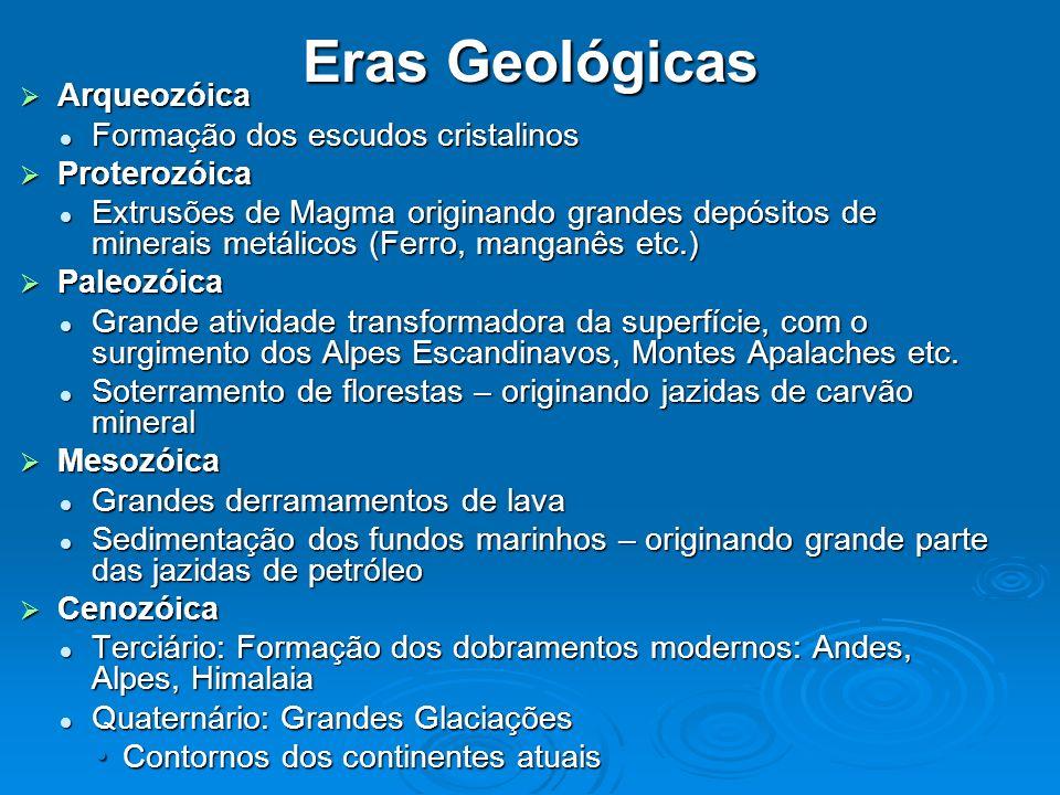 Eras Geológicas Arqueozóica Formação dos escudos cristalinos