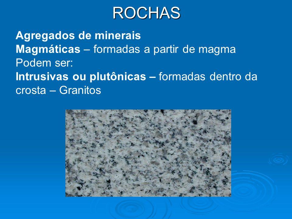 ROCHAS Agregados de minerais Magmáticas – formadas a partir de magma