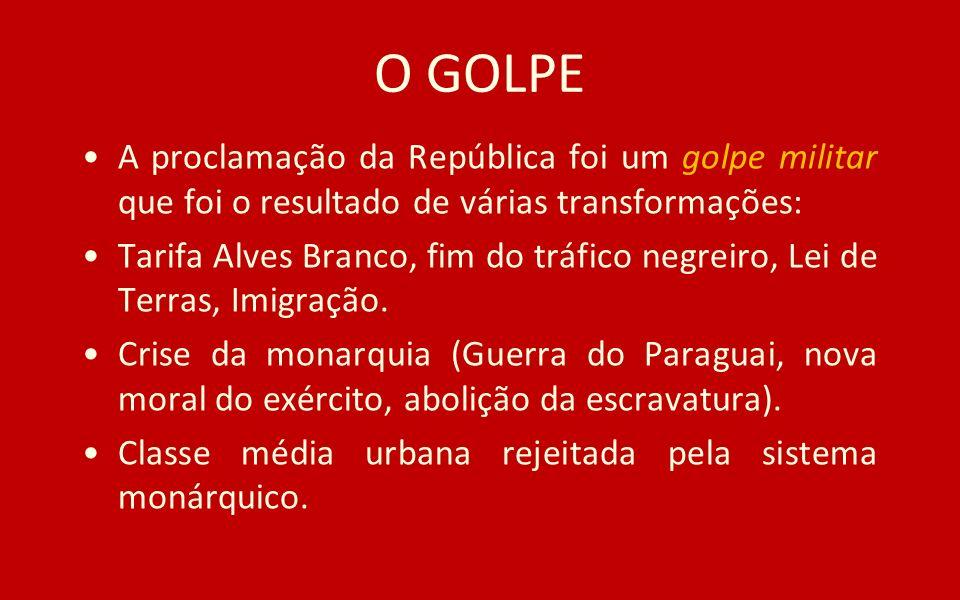 O GOLPE A proclamação da República foi um golpe militar que foi o resultado de várias transformações: