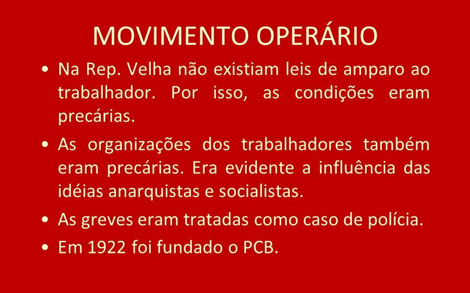 MOVIMENTO OPERÁRIO Na Rep. Velha não existiam leis de amparo ao trabalhador. Por isso, as condições eram precárias.