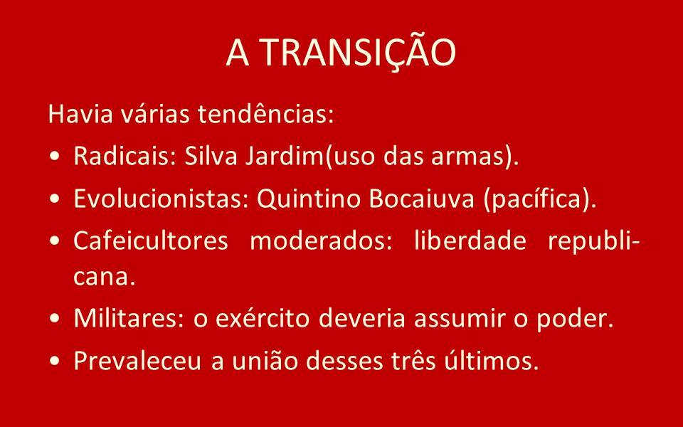 A TRANSIÇÃO Havia várias tendências: