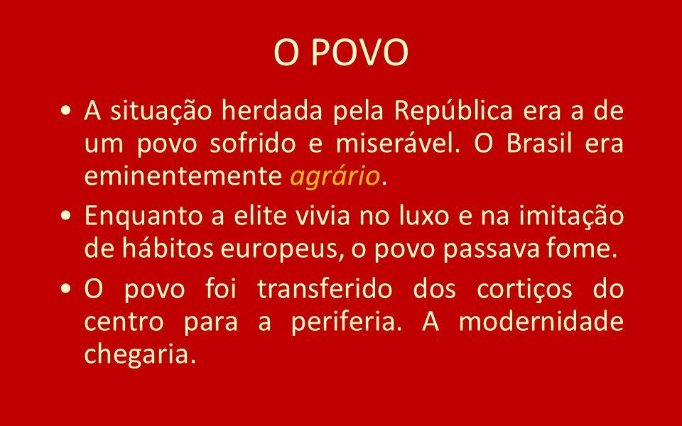 O POVO A situação herdada pela República era a de um povo sofrido e miserável. O Brasil era eminentemente agrário.