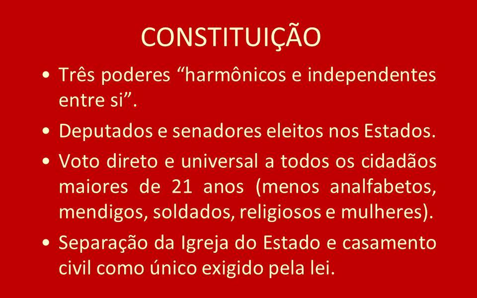 CONSTITUIÇÃO Três poderes harmônicos e independentes entre si .