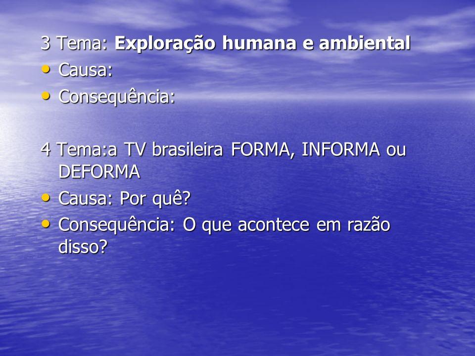 3 Tema: Exploração humana e ambiental