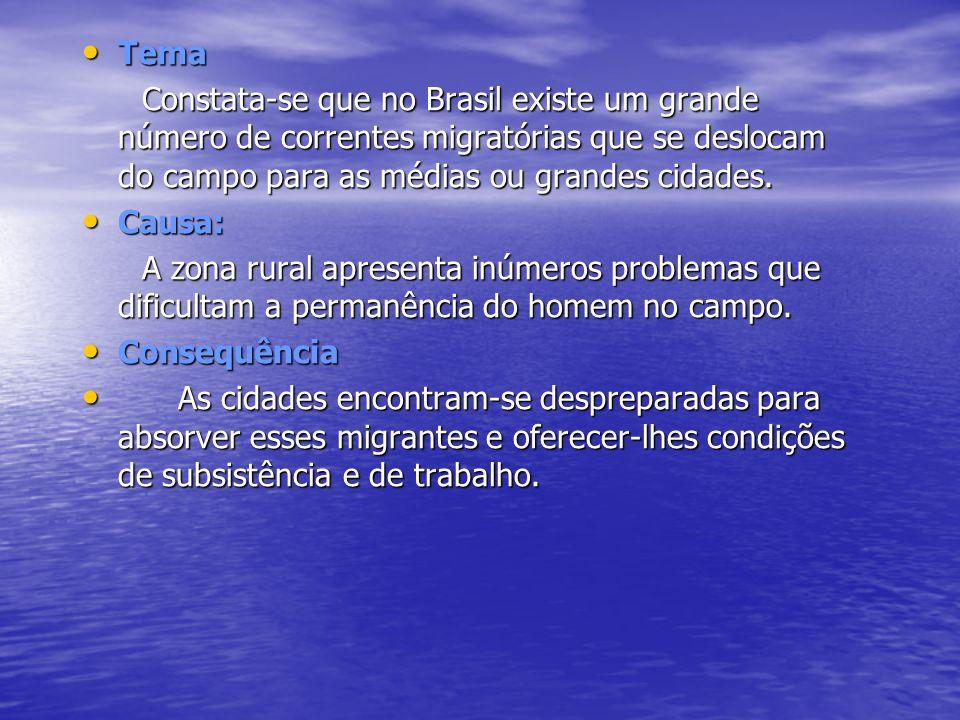 Tema Constata-se que no Brasil existe um grande número de correntes migratórias que se deslocam do campo para as médias ou grandes cidades.