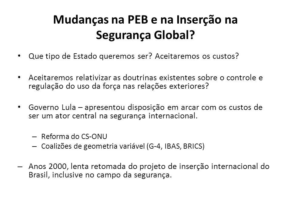 Mudanças na PEB e na Inserção na Segurança Global