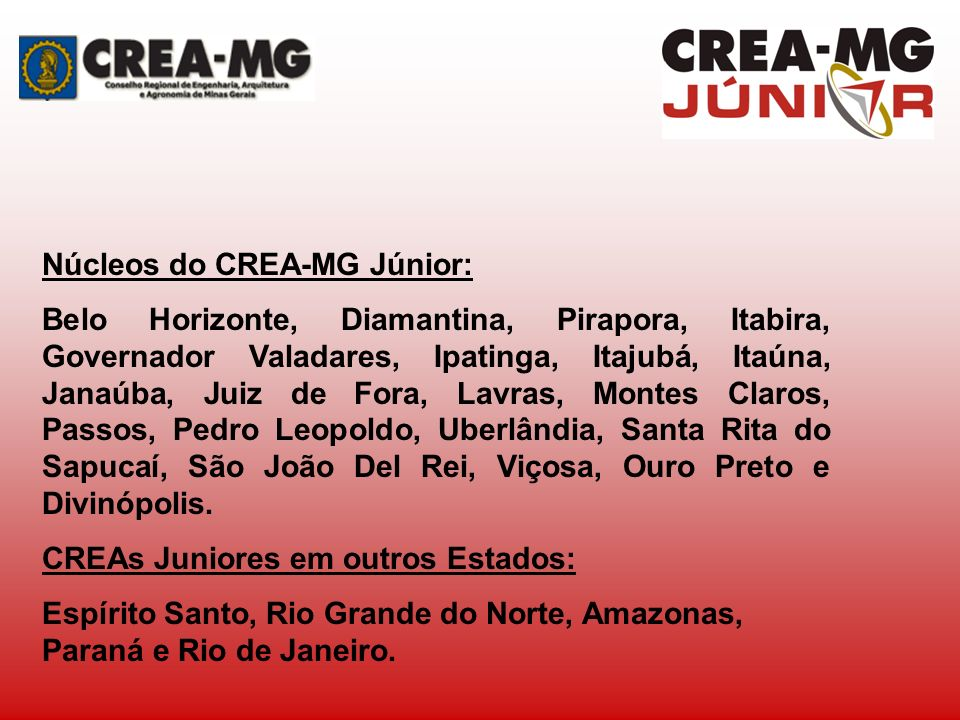 Núcleos do CREA-MG Júnior: