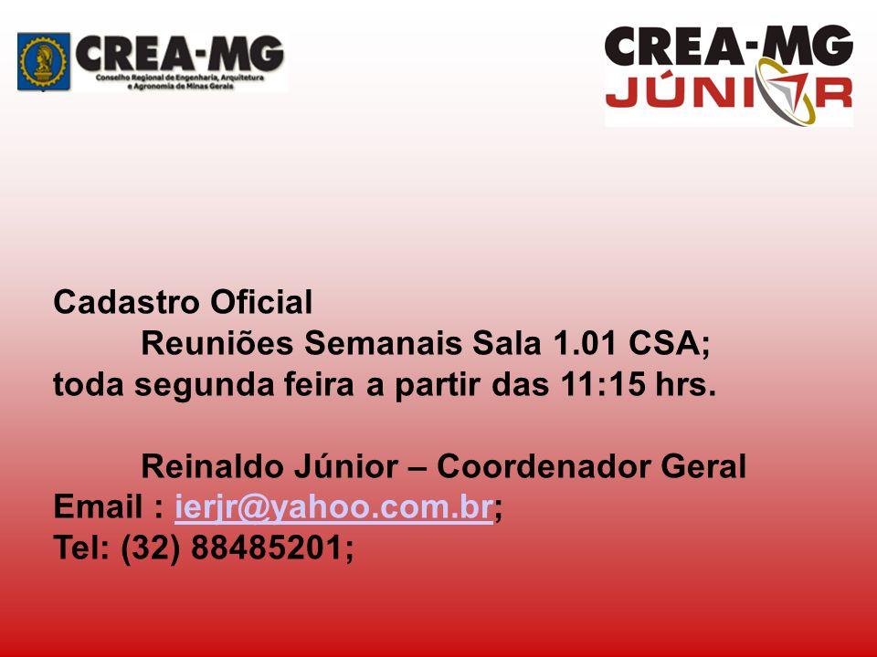 Cadastro Oficial Reuniões Semanais Sala 1.01 CSA; toda segunda feira a partir das 11:15 hrs. Reinaldo Júnior – Coordenador Geral.