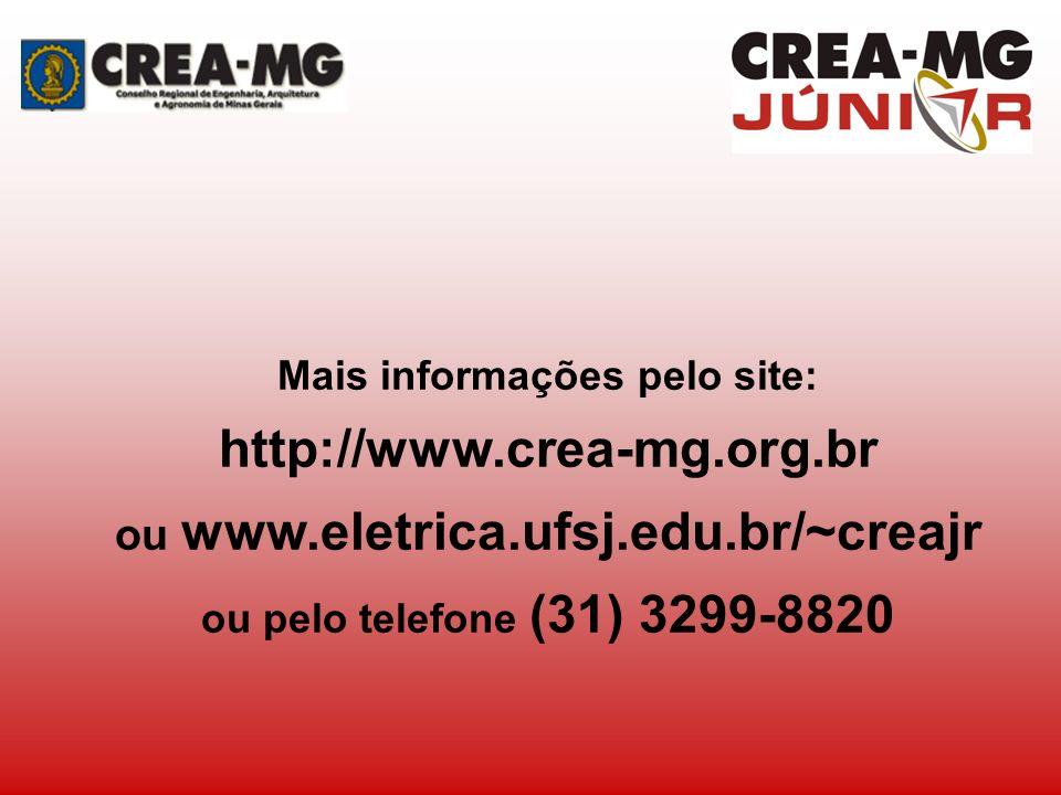 Mais informações pelo site: ou www.eletrica.ufsj.edu.br/~creajr