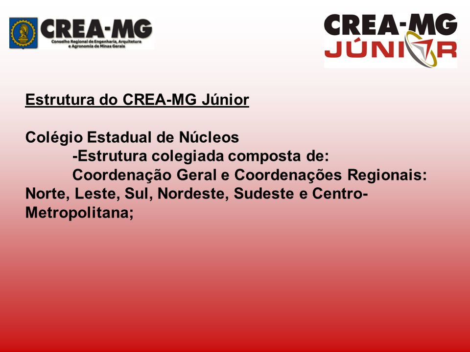 Estrutura do CREA-MG Júnior