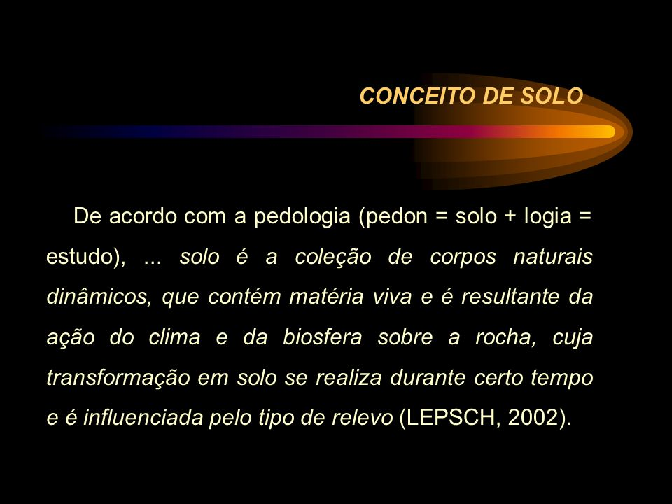 CONCEITO DE SOLO