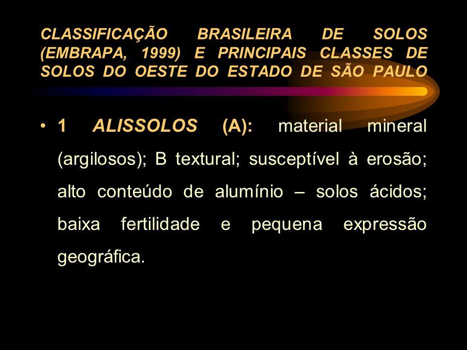 CLASSIFICAÇÃO BRASILEIRA DE SOLOS (EMBRAPA, 1999) E PRINCIPAIS CLASSES DE SOLOS DO OESTE DO ESTADO DE SÃO PAULO