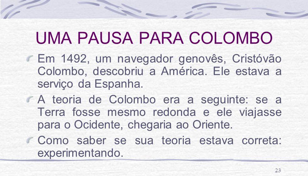 UMA PAUSA PARA COLOMBO Em 1492, um navegador genovês, Cristóvão Colombo, descobriu a América. Ele estava a serviço da Espanha.