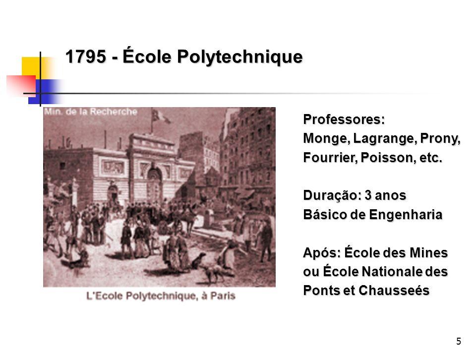 1795 - École Polytechnique Professores: Monge, Lagrange, Prony, Fourrier, Poisson, etc. Duração: 3 anos.