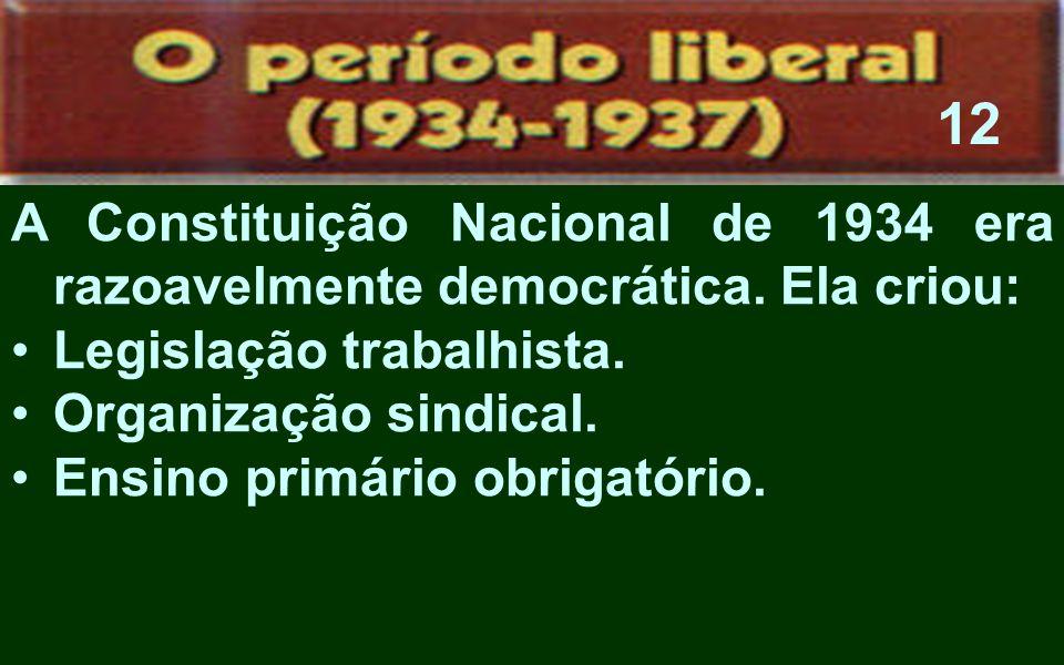 12A Constituição Nacional de 1934 era razoavelmente democrática. Ela criou: Legislação trabalhista.