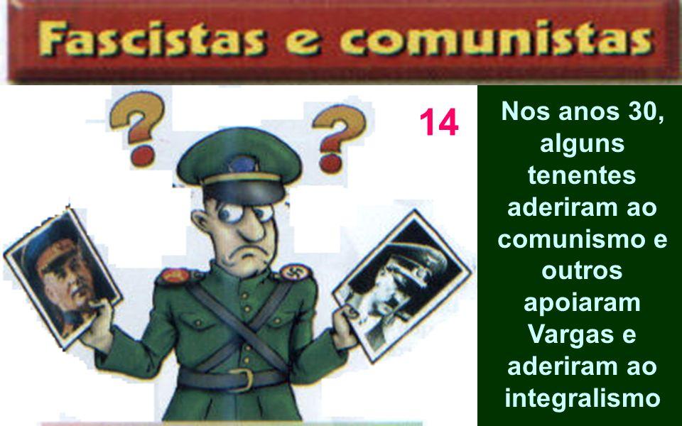 14Nos anos 30, alguns tenentes aderiram ao comunismo e outros apoiaram Vargas e aderiram ao integralismo.