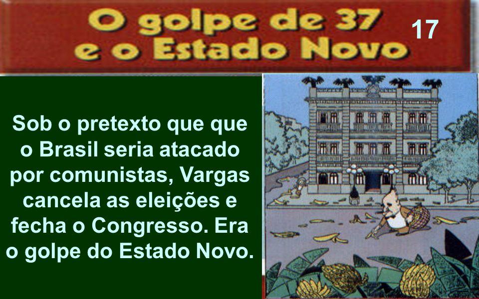17Sob o pretexto que que o Brasil seria atacado por comunistas, Vargas cancela as eleições e fecha o Congresso.