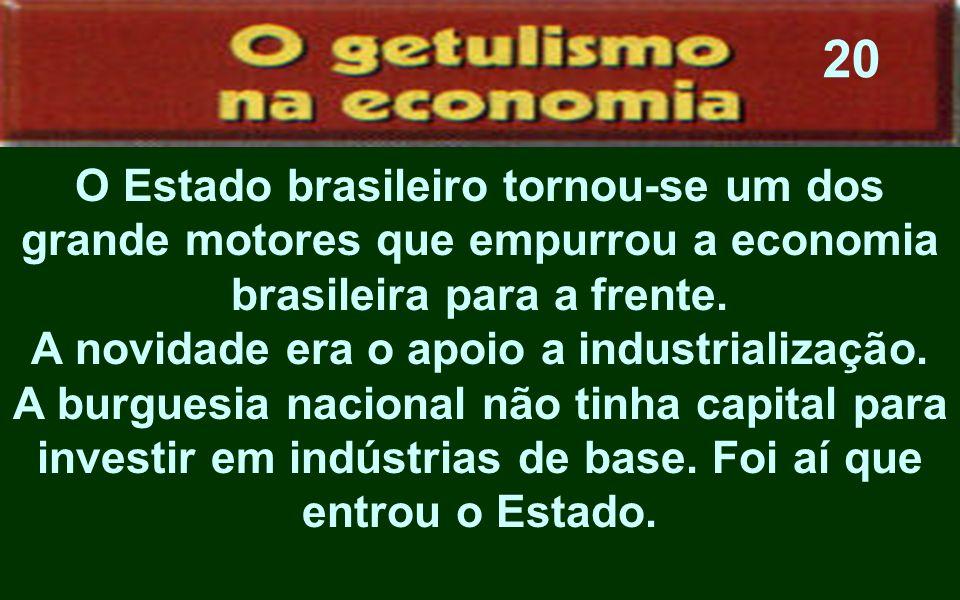 A novidade era o apoio a industrialização.