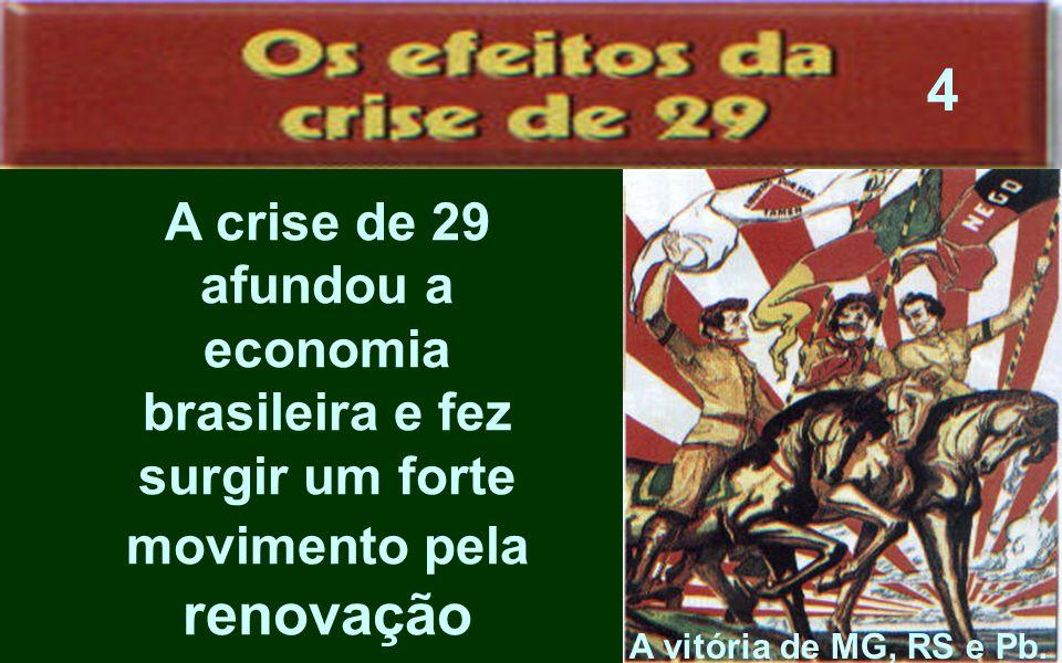 4 A crise de 29 afundou a economia brasileira e fez surgir um forte movimento pela renovação.