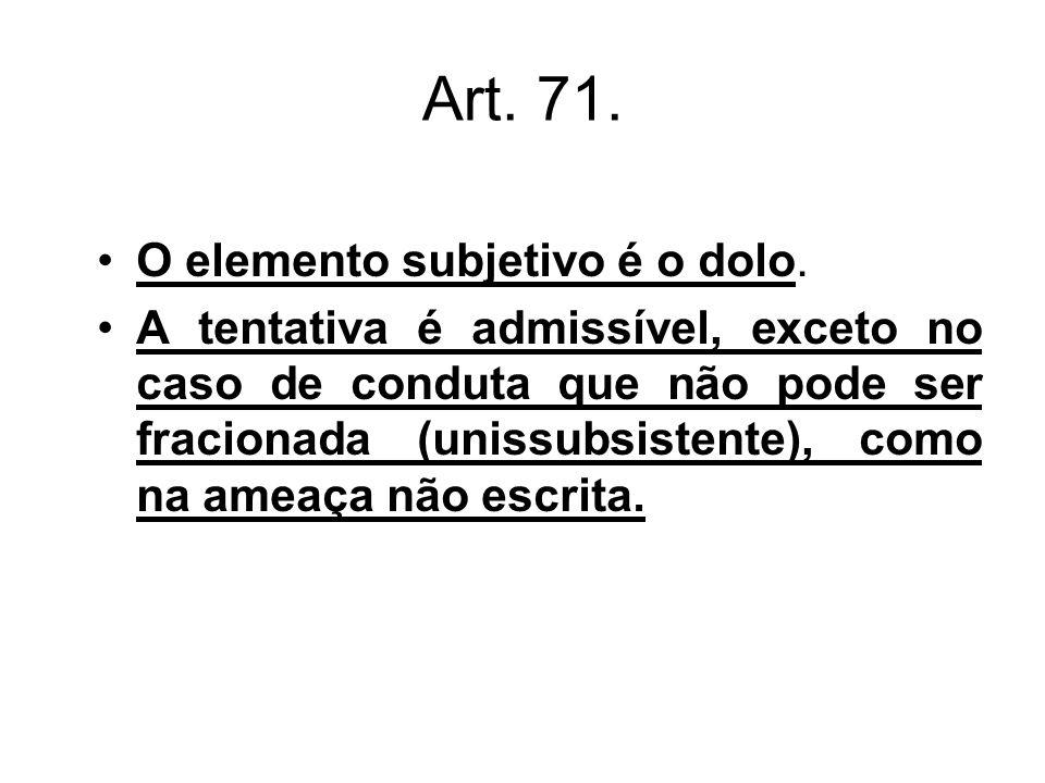 Art. 71. O elemento subjetivo é o dolo.
