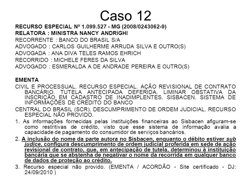 Caso 12 RECURSO ESPECIAL Nº 1.099.527 - MG (2008/0243062-9)
