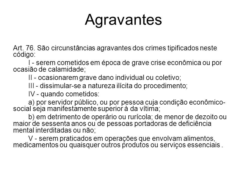 AgravantesArt. 76. São circunstâncias agravantes dos crimes tipificados neste código: