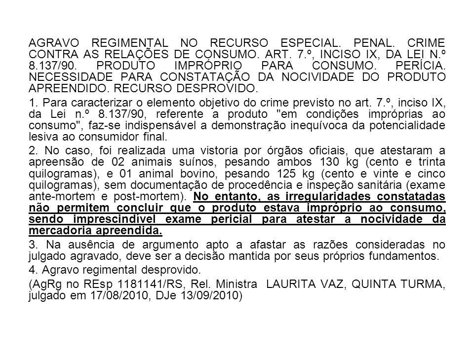 AGRAVO REGIMENTAL NO RECURSO ESPECIAL. PENAL
