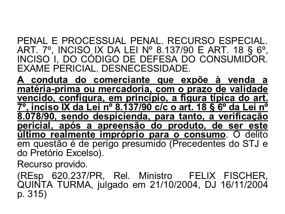 PENAL E PROCESSUAL PENAL. RECURSO ESPECIAL. ART