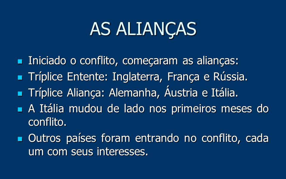AS ALIANÇAS Iniciado o conflito, começaram as alianças: