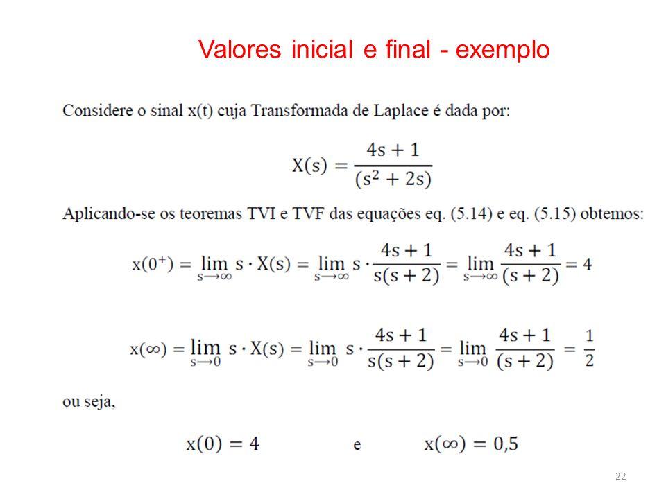 Valores inicial e final - exemplo