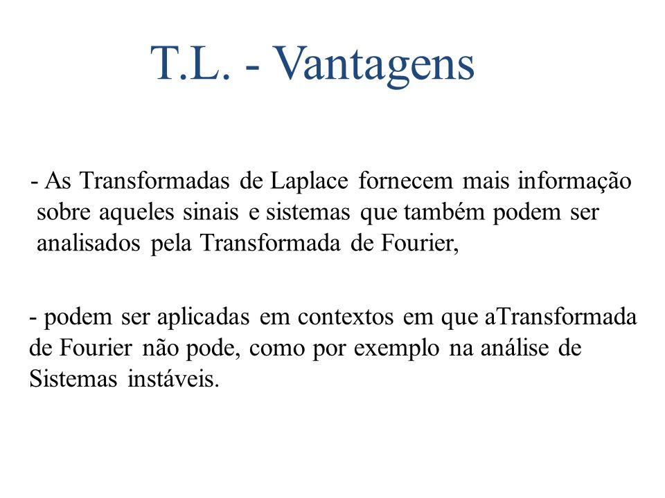 T.L. - Vantagens - As Transformadas de Laplace fornecem mais informação. sobre aqueles sinais e sistemas que também podem ser.