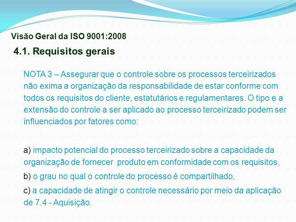 4.1. Requisitos gerais Visão Geral da ISO 9001:2008