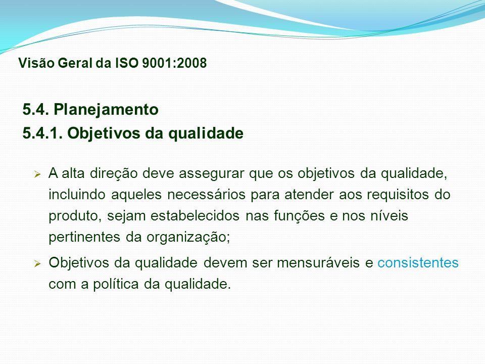 5.4.1. Objetivos da qualidade
