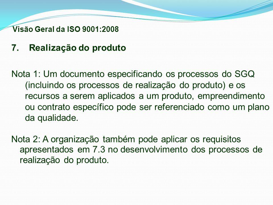 Visão Geral da ISO 9001:2008 7. Realização do produto.